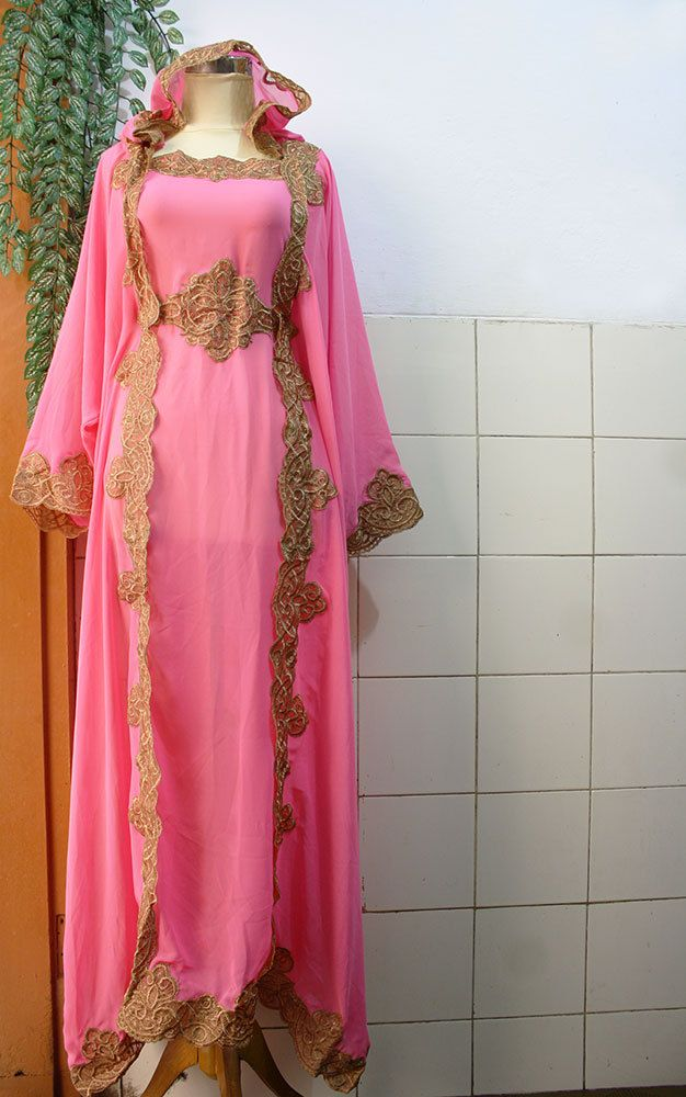 Cute Pink Moroccan Caftan Hoodie Sheer Chiffon Fancy FULL Gold Embroidery Abaya Dubai Maxi Dress farasha Hijab Style Jalabiya. $66.66, via Etsy.