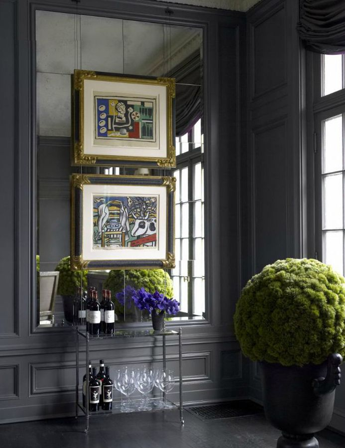 Grey, Pink & Green... sssstunning!... lively & peacefull luxurious atmosphere... paneled room, mirrors placed in the antique manner ; contrast of desirable modern art paintings... Nice !... Darcy Bonner & Associates LLC