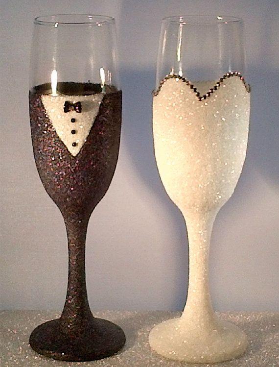 Wedding Mr & Mrs bride and groom champagne glitter glasses Handmade Wedding…