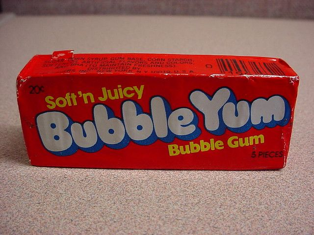Bubble Yum - This gum was so popular that kids in my Jr. High were selling individual pieces for 5 cents each. If I remember correctly, the package cost 10 or 15 cents, so they were making a pretty profit!