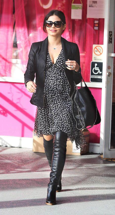 Pregnant Jenna Dewan-Tatum rocks thigh-high boots during salon visit