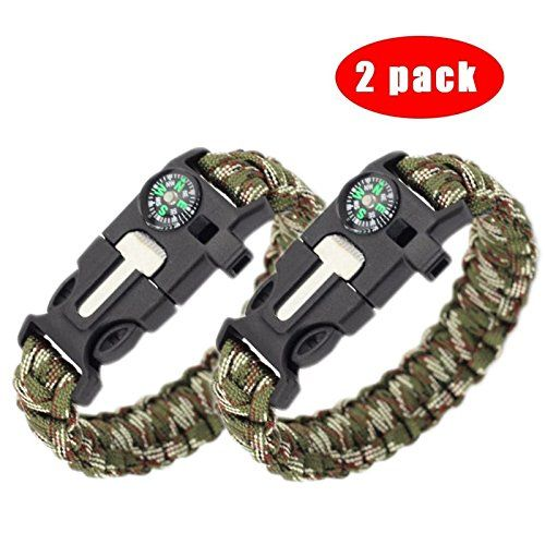 Survival Paracord Bracelet - 5-In-1 Outdoor Paracord Survival Kit: Parachute Cord, Buckle with Compass, Fire Starter, Whistle & Emergency Knife Scraper(pack of 2) (Multi Camouflages). For product & price info go to:  https://all4hiking.com/products/survival-paracord-bracelet-5-in-1-outdoor-paracord-survival-kit-parachute-cord-buckle-with-compass-fire-starter-whistle-emergency-knife-scraper%ef%bc%88pack-of-2%ef%bc%89-multi-camouflage/