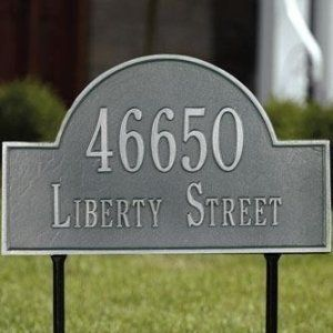 Whitehall Two Line Standard Arch Marker Lawn Address Plaque in Pewter by Whitehall. $108.99. Whitehall Two Line Standard Arch Marker Lawn Address Plaque in Pewter with Silver