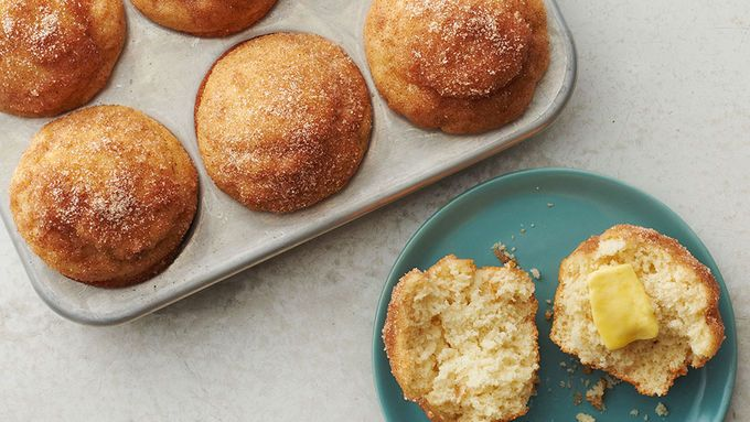 Muffins dipped in melted butter and cinnamon sugar for a French toast flair.
