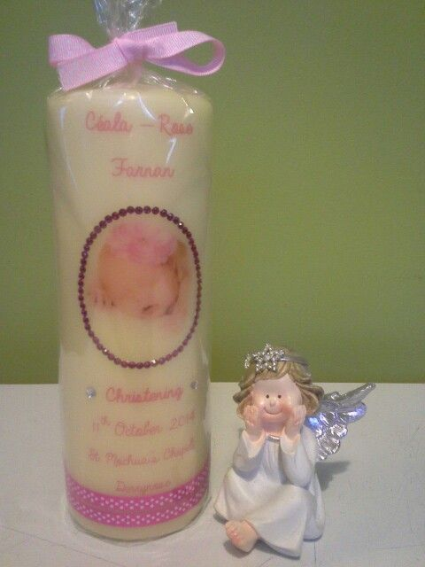 Christening Candle (girl) https://m.facebook.com/personalised.candles.for.all.occasions