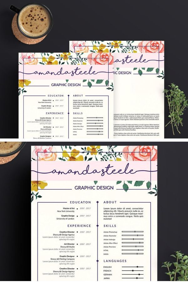 A Nice Floral Resume Creative Design To Stand Out In Your Job Hunt Cvdesign Resumedesign Resumetemplate Cvtemplate Jobhunt Hipsterresume