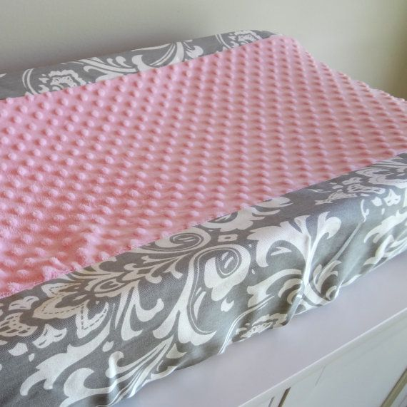 Pink and Gray Damask contour cover by babymilanbedding on Etsy, $38.00