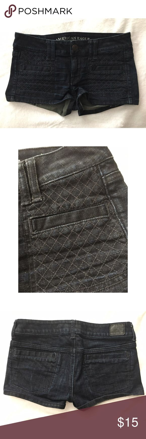 American Eagle Lattice Front Denim Dark Wash Short Excellent used condition! Comes from a pet and smoke free home. No trades. ❤️ Item location: bin 2. American Eagle Outfitters Shorts Jean Shorts