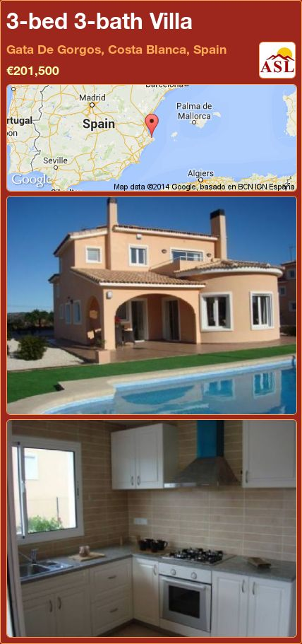 3-bed 3-bath Villa in Gata De Gorgos, Costa Blanca, Spain ►€201,500 #PropertyForSaleInSpain