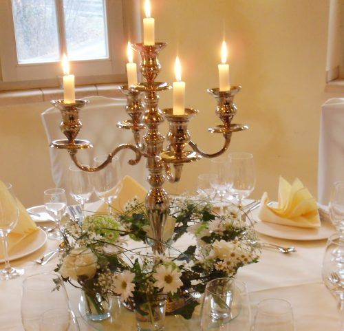 Candelabra with flowers around bottom decorations for Chandelier centre de table