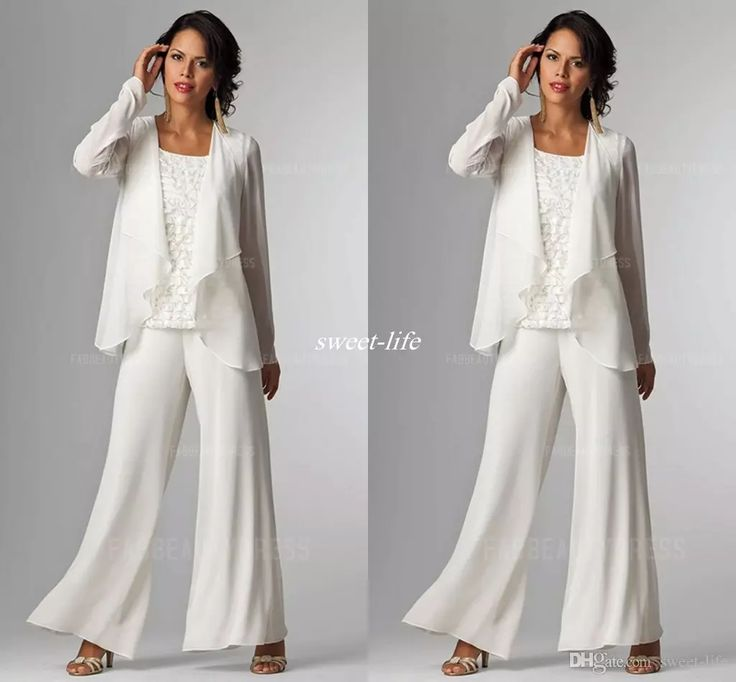 Ivory White Chiffon Lady Mother Pants Suits Mother of The Bride Groom Mother Bride Pant Suits With Jacket Women Party Dresses Trouser Suits Mother of the Bride Dresses Cheap Evening Gowns Online with $140.0/Piece on Sweet-life's Store | DHgate.com