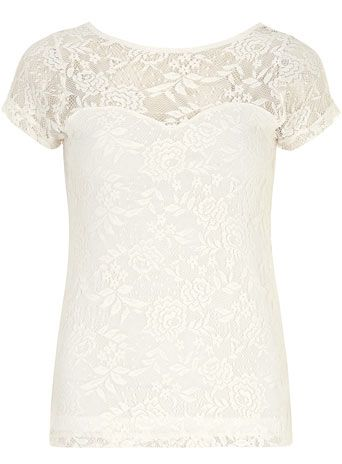Ivory scoop back lace tee  (order of L50 or more free worldwide deliver)