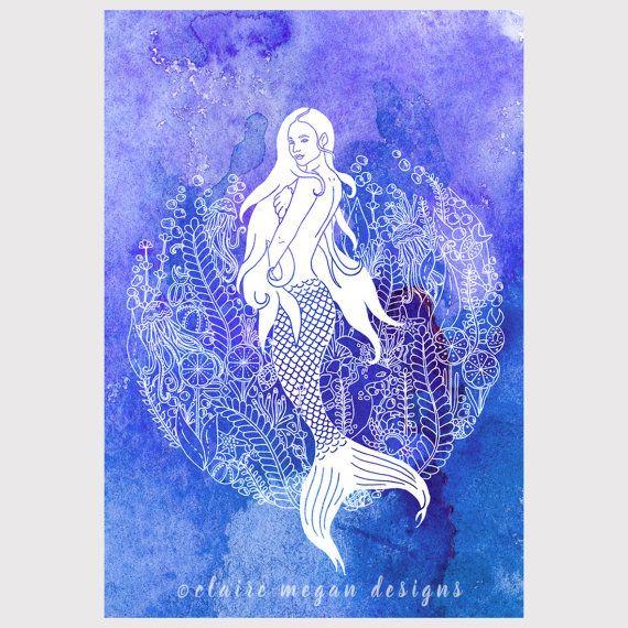Zeemeermin Print met zee leven onderwater door ClaireMeganDesigns