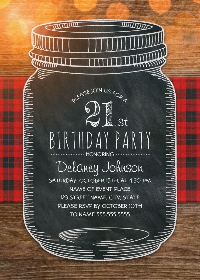 Outdoor 21st Birthday Invitations - Mason Jar Chalkboard Picnic