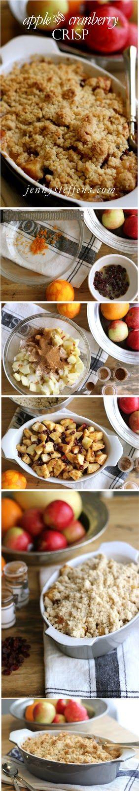 Apple Cranberry Crisp... smells like Fall baking in your kitchen!  http://jennysteffens.blogspot.com/2012/10/apple-cranberry-crisp-comforting.html