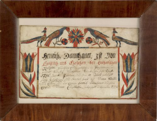 Montgomery County, Pennsylvania watercolor and ink on paper fraktur ...