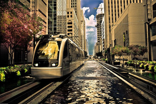 Downtown Houston, Texas - Light rail will take you North/South from UHD to Reliant Stadium.
