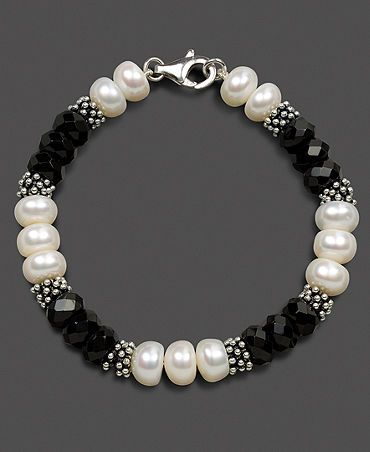 Sterling Silver Bracelet, Cultured Freshwater Pearl and Onyx