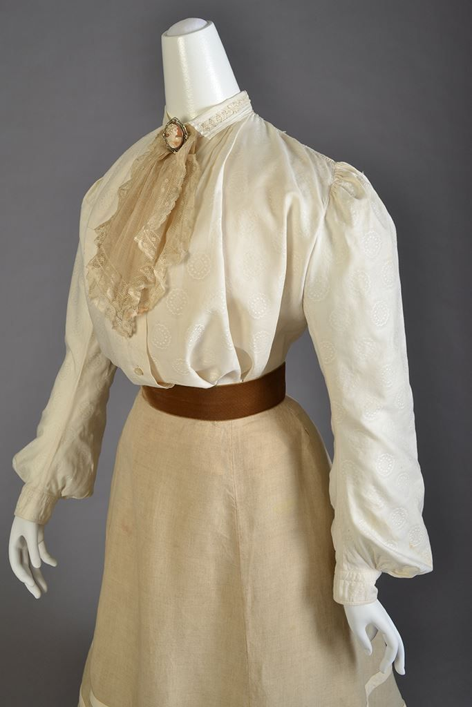 """edwardian-time-machine: """" Ensemble of the day: Cotton blouse with collar and jabot and linen skirt, American, ca. 1905. Source """""""