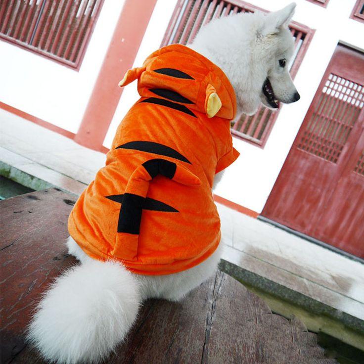 Хэллоуин кошка собака тигр костюм одежда зима большая собака щенок хлопок ватник пальто золотистый ретривер большая собака одежда