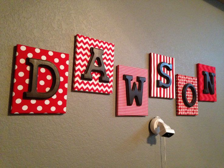 Fabric covered canvas with wood letters! Great for nursery rooms!! Cheap and makes a big statement!!