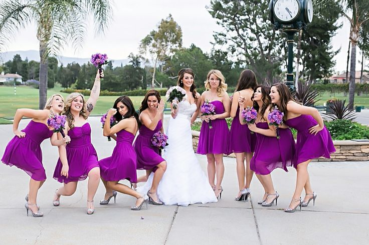 Funny Bridesmaid photos with the bride for formals Alta Vista Country Club in Placentia wedding with purple wedding colors gorgeous bride and groom in Irvine California wedding photographs based in Los Angeles top wedding photographers of the year