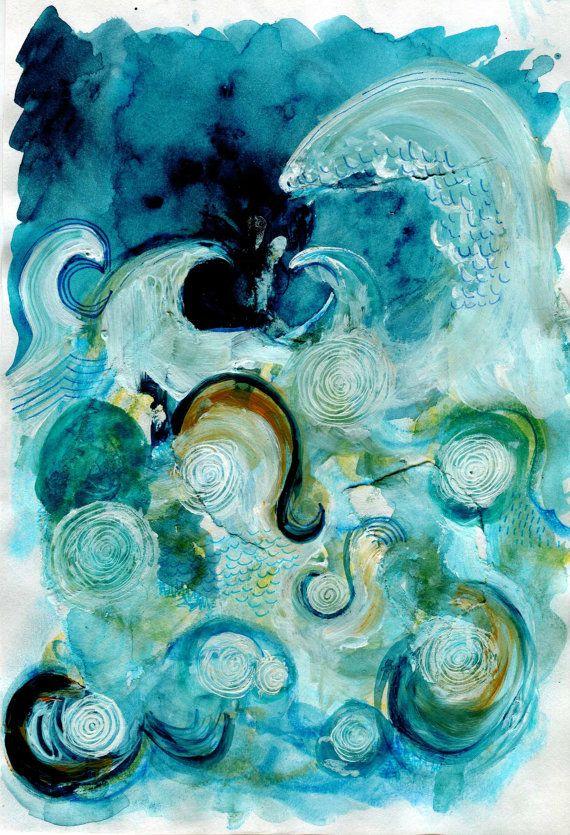 Original Ocean Painting  SEA STORM  Mixed Media by SarahEmilyKirk, £20.00. Beautiful blues and greens.