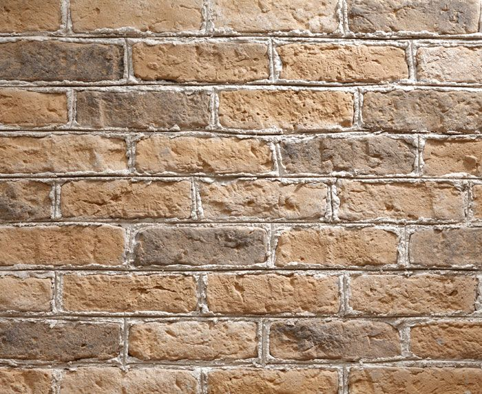 Old Farmhouse Brick Slips with white mortar