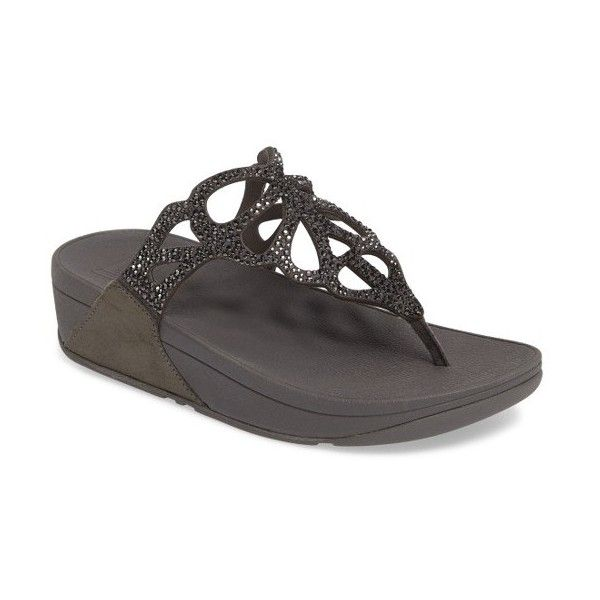 Women's Fitflop Bumble Crystal Flip Flop (350 ILS) ❤ liked on Polyvore featuring shoes, sandals, flip flops, pewter leather, platform thong sandals, sparkly flip flops, toe thong sandals, platform sandals and sparkly sandals