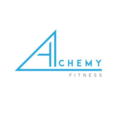 Alchemy Fitness Logo design by Case In Point Design Studio, New Zealand. Modern, clean, triangle, logo design, branding, blue, grey, palette, angles, fitness, health, wellness, design, inspiration, simple, typeface.