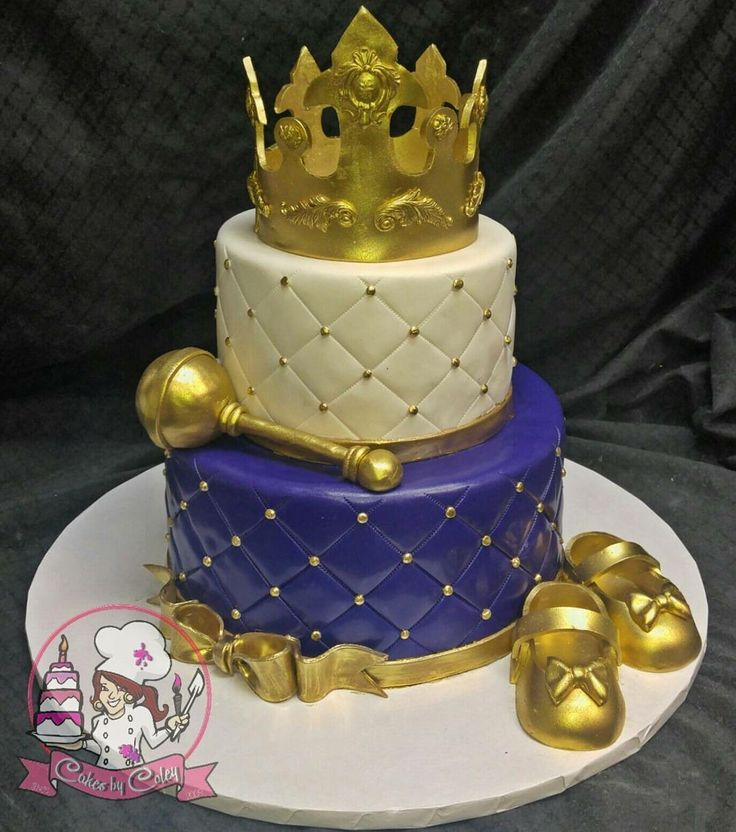 Purple, gold, and White Royal Princess Baby Shower cake
