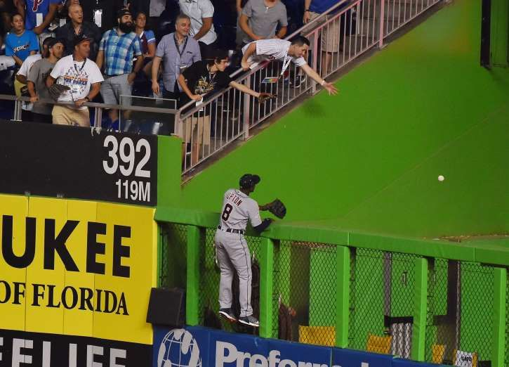 Best of the 2017 MLB All-Star Game  -  July 11, 2017:    Justin Upton watches as Yadier Molina's home run clears the wall in the sixth inning.