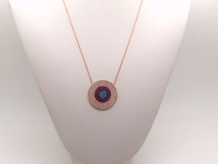 Evil Eye Necklace, Silver Necklace, Pink Gold Plated Necklace, Jewellery, Gift for her, Zircon necklace by IsminisHeartmade on Etsy