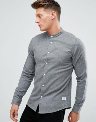 Solid Grandad Collar Shirt In Brushed Flannel