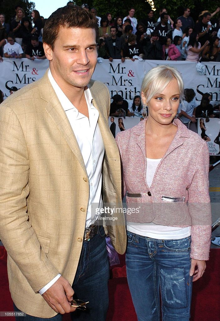 David Boreanaz and Jaime Bergman during 'Mr. And Mrs. Smith' Los Angeles Premiere - Arrivals in Los Angeles, California, United States.