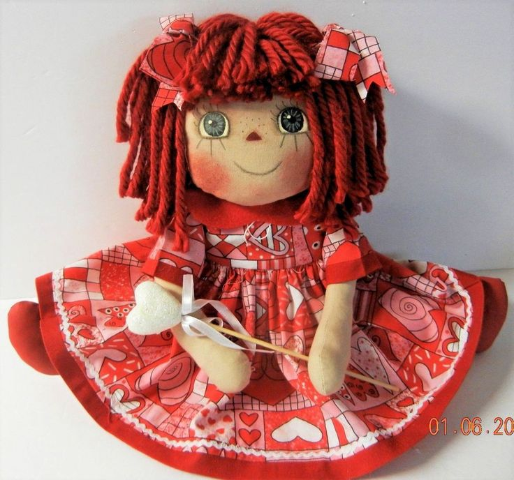 "Primitive Raggedy Ann VALENTINE Doll ""ROBIN""  HEART VALENTINE DRESS / HEART PICK #NaivePrimitive #Patricia"