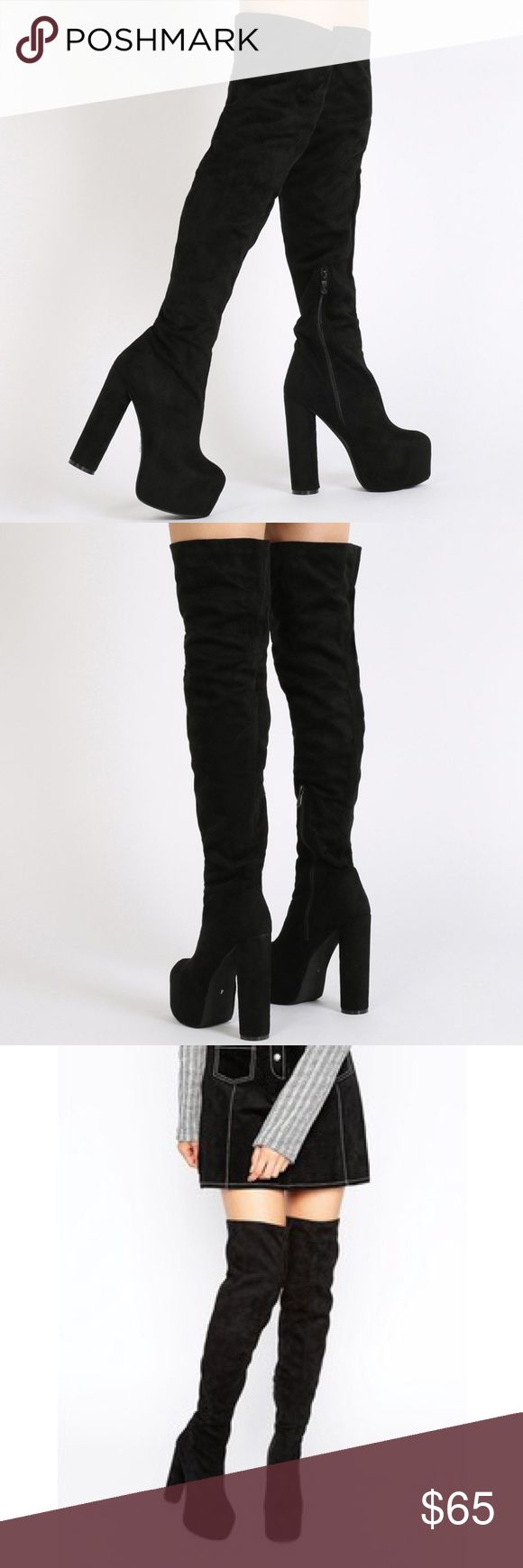 Suede Thigh High Boots Public Desire Sz:7 Black Suede *BRAND NEW NEVER WORN* bought them from asos ASOS Shoes Over the Knee Boots
