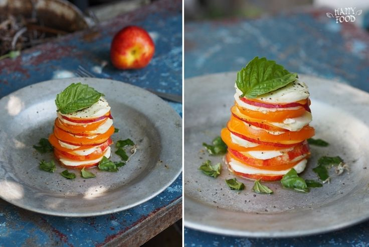 HAPPYFOOD - Салат-башенка с нектаринами, томатами и моцареллой
