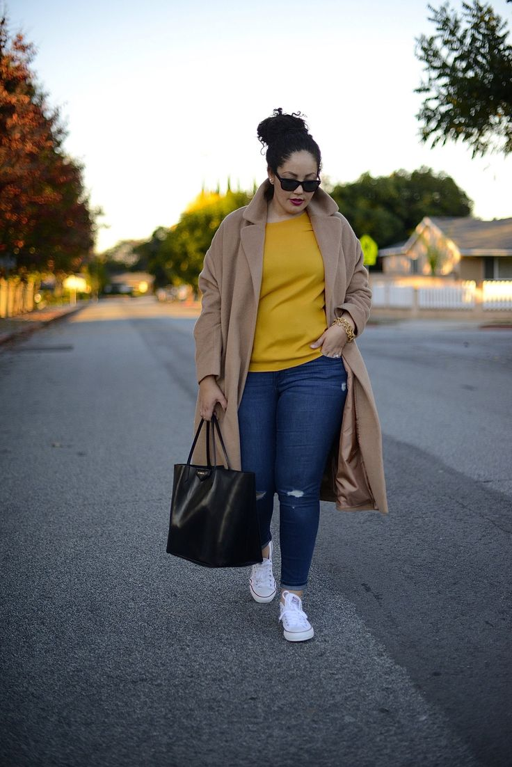 Long Over-sized Coat & Chucks - What else is needed for a relaxing day! Girl with Curves!