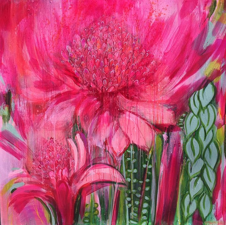 Magenta Meet Me at the Ginger lilies Acrylic on Canvas 100 x 100 x 4 cms Botanical Series www.clarehaxby.com