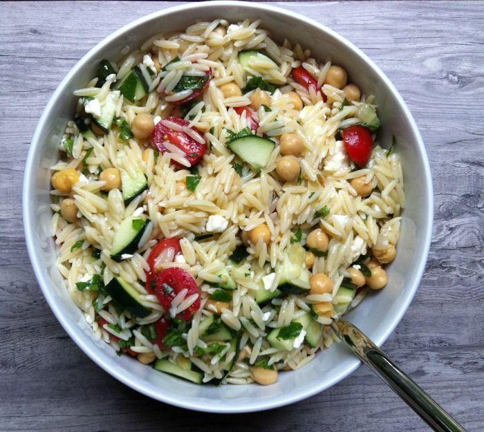 Summer Orzo Pasta Salad - zucchini, tomatoes, mint, basil, feta, lemon/red wine vinaigrette