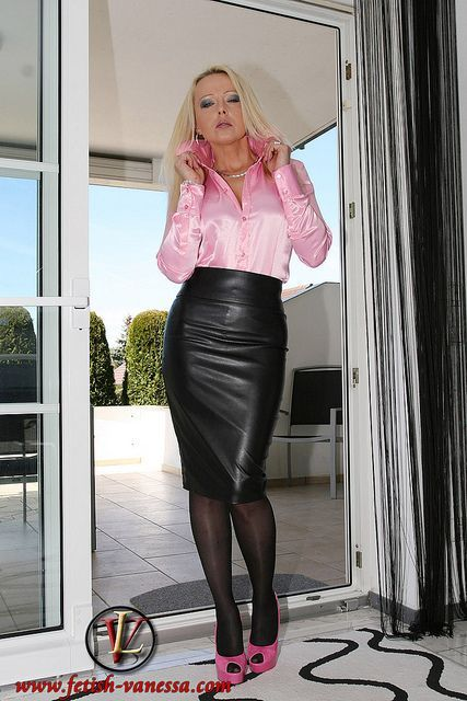 Pink Satin Pencil Skirt 56