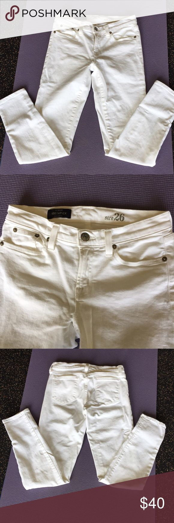 J Crew Toothpick Ankle Jeans Classic white J Crew jeans in next to new condition. Just in time for Spring!! J. Crew Pants Skinny