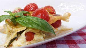 Lasagne con pomodorini spadellati  e mozzarella