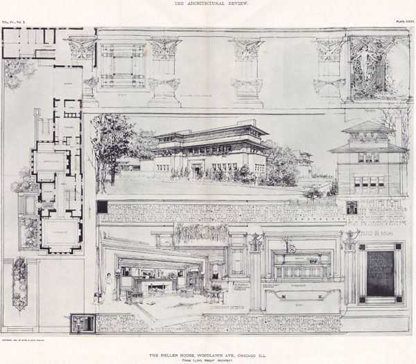 Frank Lloyd Wright The Heller House, Woodlawn Ave. Chicago, IL