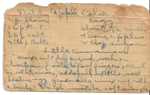 This is a very old handwritten recipe on an index card. The card is so old it's thin and very worn around the edges. The card was in a plastic sleeve for protection and with a bunch of recipes in a recipe tin bought at auction. The handwriting is very hard to read in some places and I did the best I could to interpret, but I believe it's correct. Please read the recipe thoroughly before attempting to make.