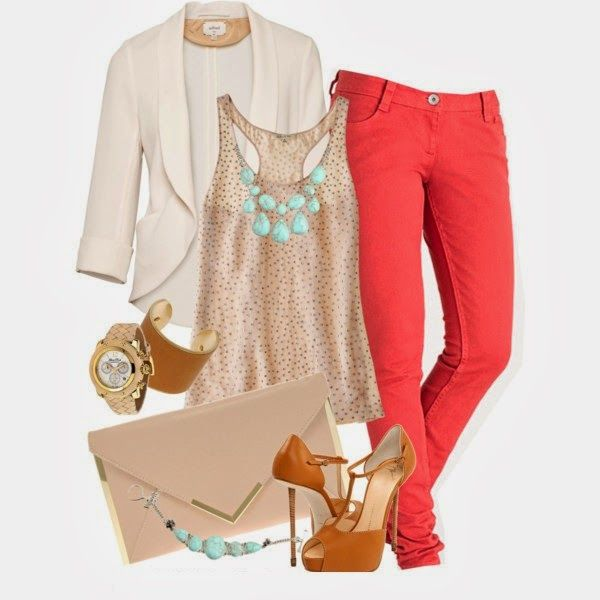 Classy Outfit: Outfits, Coral Pants, Fashion, Style, Dream Closet, Coral Skinny Jeans, Clothes, Spring Summer