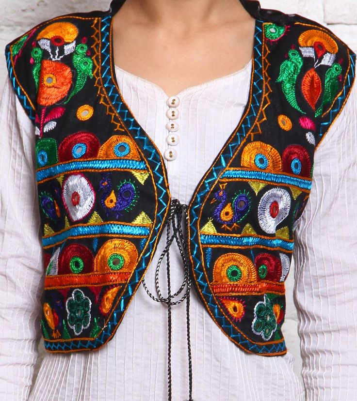 Multicoloured Kutch Embroidered Mushroom Silk Jacket