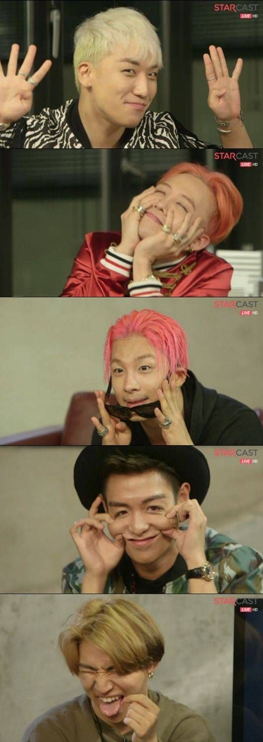 Big Bang show off their unique aegyo in Naver live stream~ so Taehyun learnt that face from tabi oppa xD