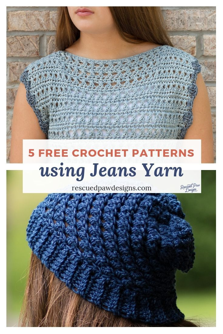 9c7c8b3ec Make these 5 FREE Crochet Pattern using LionBrand Jeans Yarn! Patterns  using Jeans